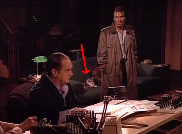 Bob - Mad Dog Returns - Bob Newhart at drawing table with Harlan Stone John Cygan in front of cat Otto on couch