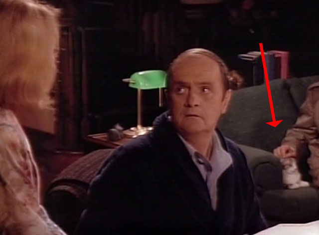 Bob - Mad Dog Returns - Bob Newhart with cat Otto on couch in background being petted