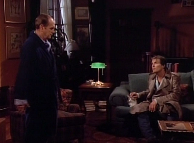 Bob - Mad Dog Returns - Harlan Stone John Cygan on couch with cat Otto and Bob Newhart
