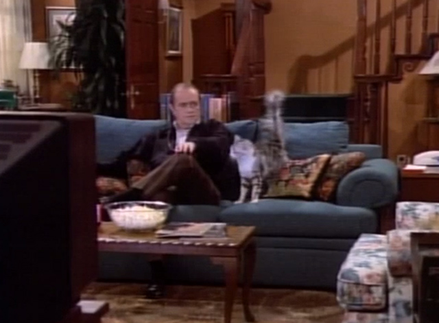 Bob - P.C. or Not P.C. - cat Otto on couch with Bob Newhart