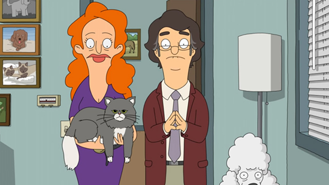 Bob's Burgers - There's No Business Like Mr. Business Business - grey and white cat Jessican with Fluffy and Ian