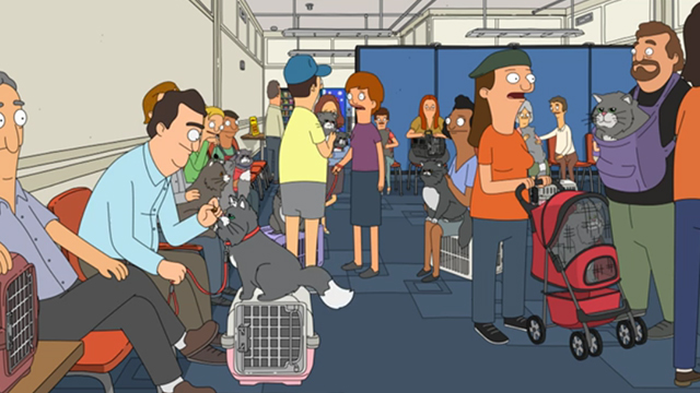Bob's Burgers - There's No Business Like Mr. Business Business - grey and white cats with owners at audition