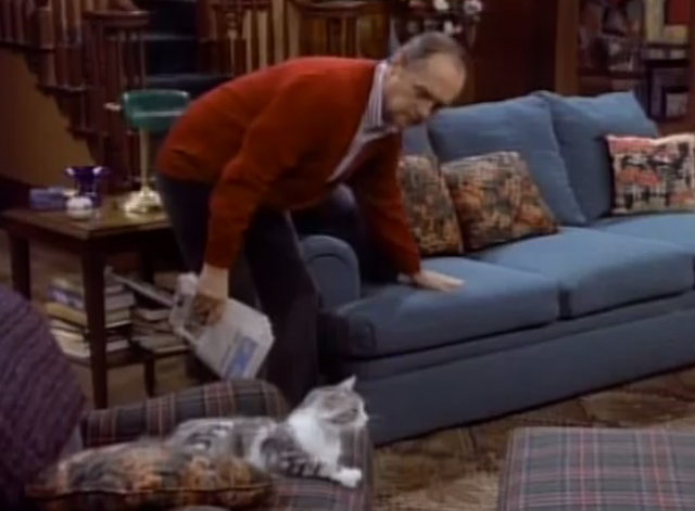 Bob - Terminate Her - Bob Newhart trying to coax cat Otto from chair to couch