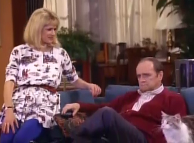 Bob - Unforgiven - cat Otto sitting next to Bob Newhart on couch with Kaye Carlene Watkins