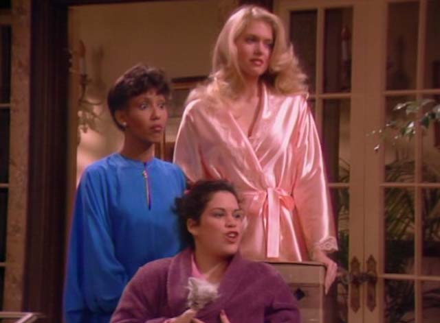 Bosom Buddies - Only the Lonely - Sonny Donna Dixon, Isabelle Telma Hopkins and Amy Wendie Jo Sperber with long-haired silver kitten in her robe