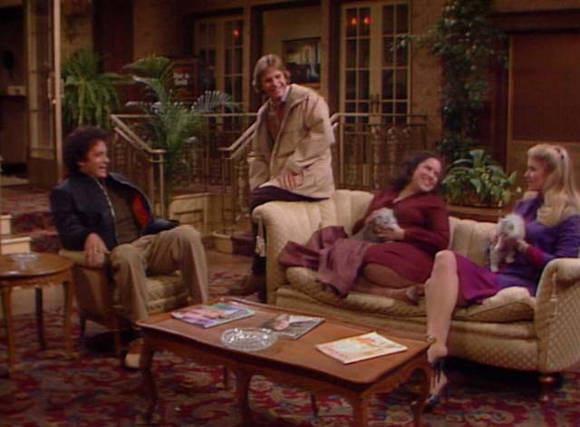 Bosom Buddies - Only the Lonely - Sonny Donna Dixon and Amy Wendie Jo Sperber with long-haired silver kittens talking to Kip Tom Hanks and Henry Peter Scolari