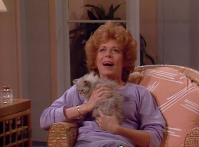 Bosom Buddies - Only the Lonely - Ruth Holland Taylor holding long-haired silver kitten