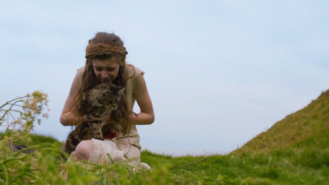 Britannia - Episode #1.1 - Cait Eleanor Worthington-Cox letting long-haired tabby cat go
