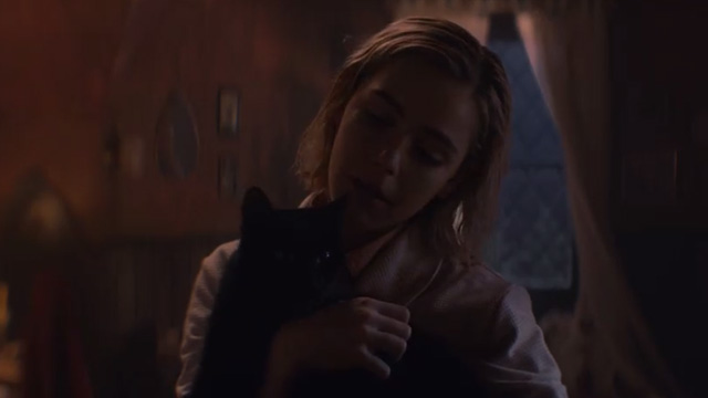 The Chilling Adventures of Sabrina - October Country - Sabrina Kiernan Shipka holding black cat Salem