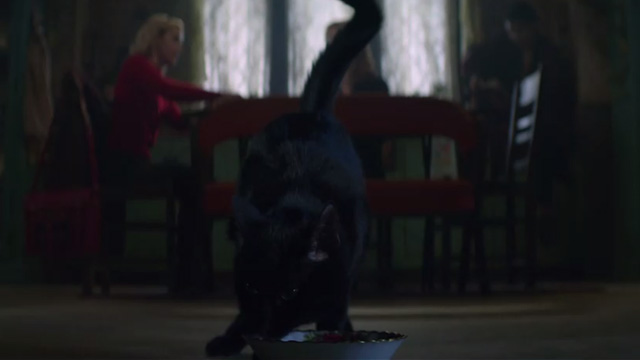 The Chilling Adventures of Sabrina - October Country - black cat Salem eating from bowl on floor