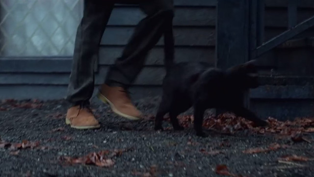 The Chilling Adventures of Sabrina - October Country - black cat Salem leaving house with Sabrina
