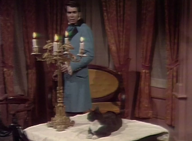 Dark Shadows - Jeremiah Anthony George looking at tuxedo cat on table