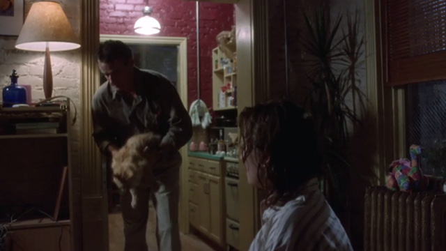ER - Chicago Heat - Susan Lewis Sherry Stringfield on bed with Div John Terry setting down long haired ginger cat