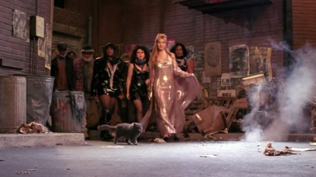 Friends - The One Where Eddie Moves In - Smelly Cat video gray long-haired cat in front of dancers