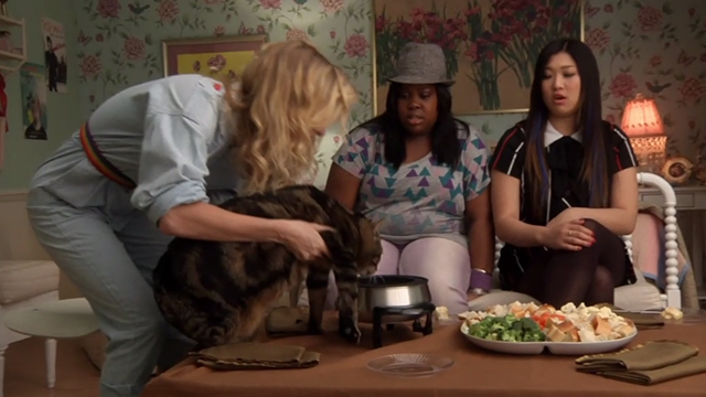 Glee - Rumours - Brittany Heather Morris letting large tabby cat Lord Tubbington Aragon eat out of fondue pot in front of Mercedes Amber Riley and Tina Jenna Ushkowitz