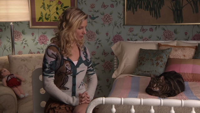 Glee - Rumours - Brittany Heather Morris sitting beside bed with large tabby cat Lord Tubbington Aragon
