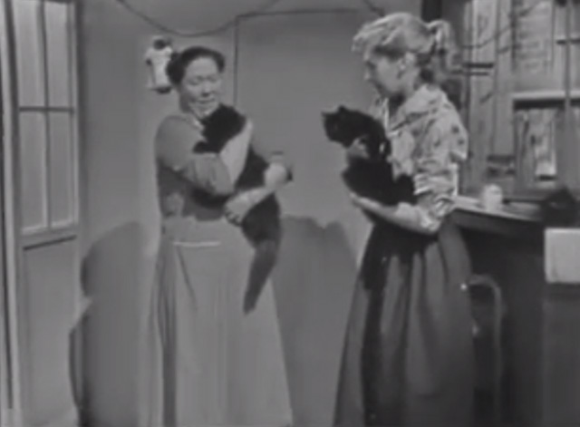 The Larkins - Cat Happy - Ada Peggy Mount and Peggy Ruth Trouncer holding black cats
