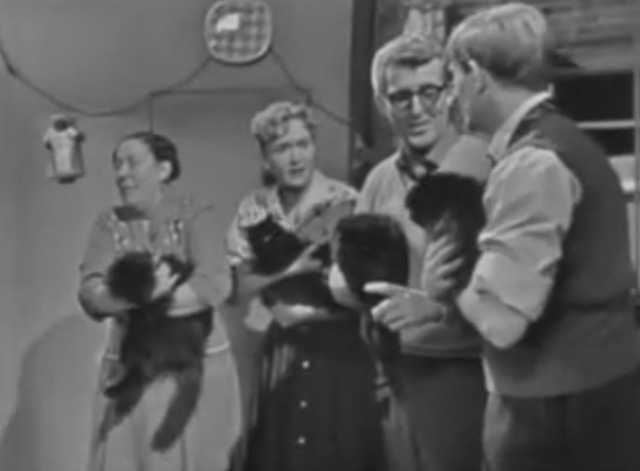 The Larkins - Cat Happy - Jeff Ronan O'Casey Ada Peggy Mount Peggy Ruth Trouncer and Eddie Shaun O'Riordan holding black cats