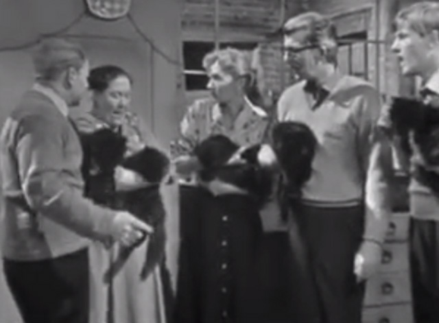 The Larkins - Cat Happy - Alf David Kossoff Jeff Ronan O'Casey Ada Peggy Mount Peggy Ruth Trouncer and Eddie Shaun O'Riordan holding black cats