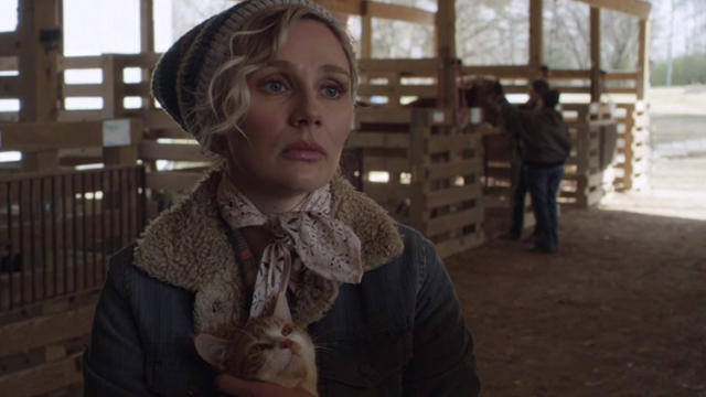 Nashville - Sometimes You Just Can't Win - Scarlett Clare Bowen holding orange and white cat in stables