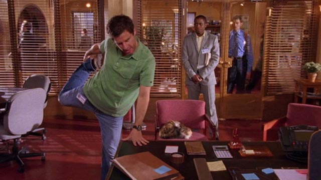 Psych - 9 Lives - calico cat Little Boy Cat watching Shawn James Roday dancing around