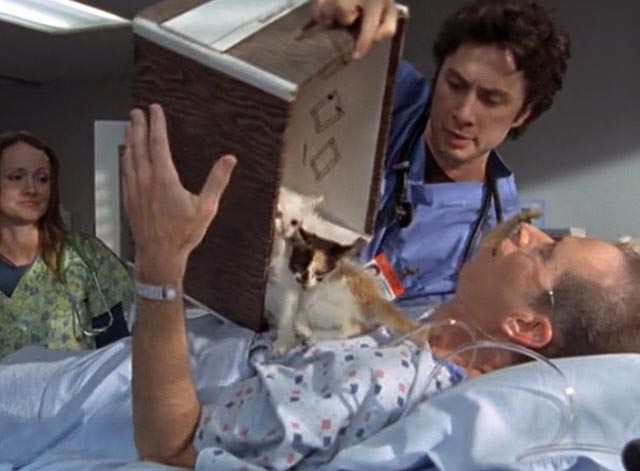 Scrubs - My House - Dr. Dorian Zach Braff pours box of kittens over male patient