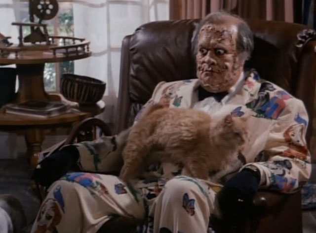 Tales From the Crypt - Collection Completed - Jonas M. Emmett Smith stuffed with orange tabby cat Mew Mew on lap