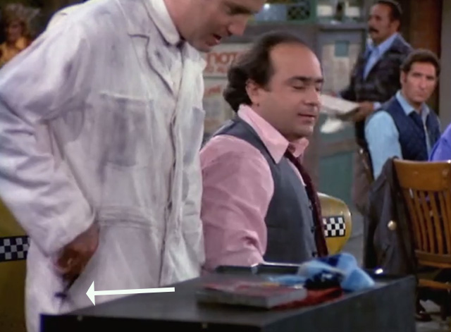 Taxi - Nardo Loses Her Marbles - Latka Andy Kaufman with kitten poking out of pocket with Louie Danny DeVito