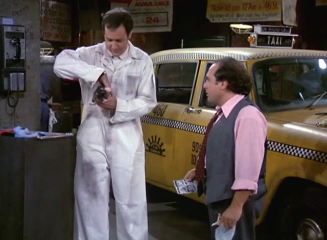 Taxi - Nardo Loses Her Marbles - Latka Andy Kaufman pulls kitten from pocket with Louie Danny DeVito