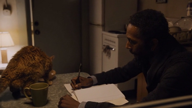 This is Us - Clooney - orange tabby cat Clooney with bent ear eating on table as William Ron Cephas Jones writes