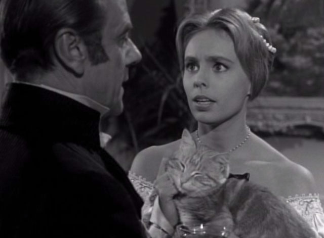 Thriller - The Poisoner - Frances Sarah Marshall holding orange tabby cat Hermione with Griffith Murray Matheson