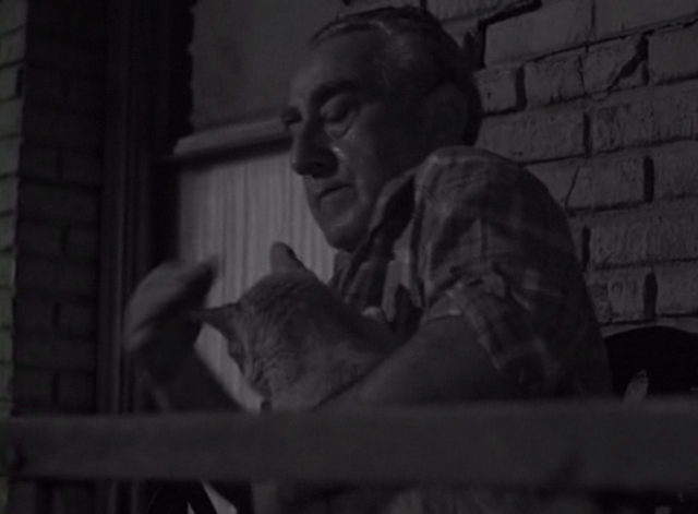 The Twilight Zone - He's Alive - man holding tabby cat on fire escape
