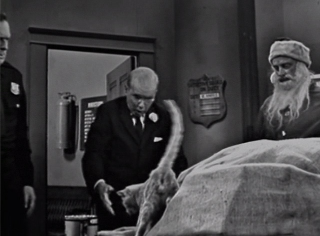 The Twilight Zone - The Night of the Meek - tabby cat being pulled out of bag by Mr. Dundee John Fiedler with Henry Art Carney and Flaherty Robert P. Lieb