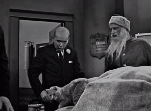The Twilight Zone - The Night of the Meek - tabby cat on table with Mr. Dundee John Fiedler and Henry Art Carney