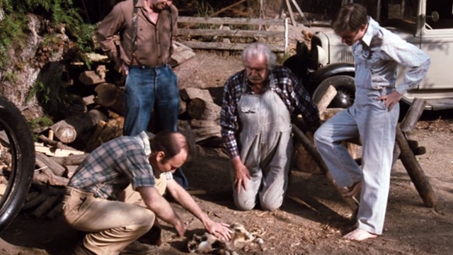 The Waltons - The Loss - veterinarian and Waltons looking at large Calico cat lying on ground