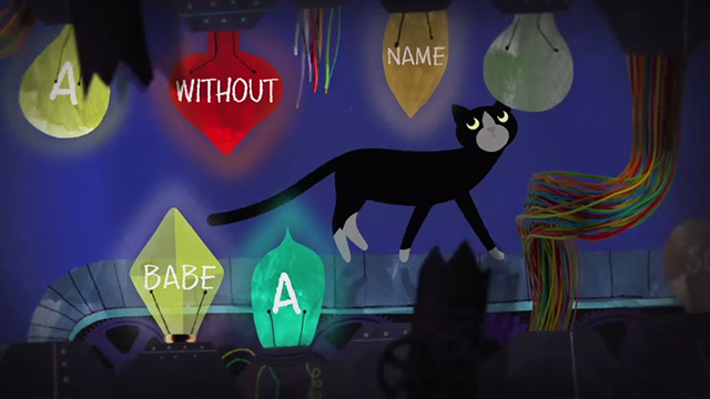 All Dead, All Dead - tuxedo cat walking pasts circuits and bulbs